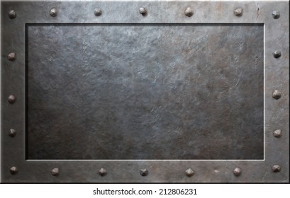 Old metal frame with rivets