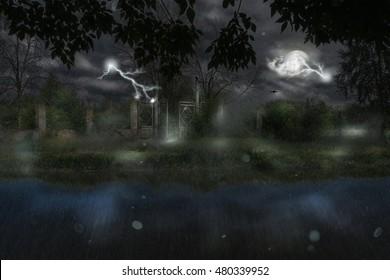 Old metal gate at rainy night, photomanipulation, halloween background.