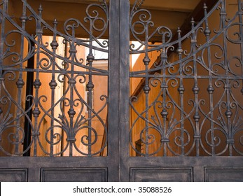 Old metal gate and security closed entrance door