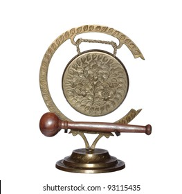 old metal gong on white background