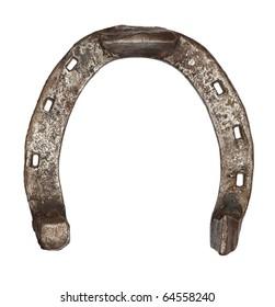 Old metal horseshoe isolated on white background