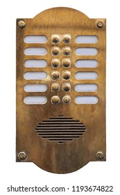 Old metal intercom cut out on white background. Isolated vintage object. Close shot.