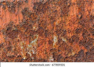 Old metal iron rust texture. Grunge textured metal surface. Rusted metal background. The external surface rust. Decay metal with colorful spots, cracked layers of paint and ugly spaces of deep rust.