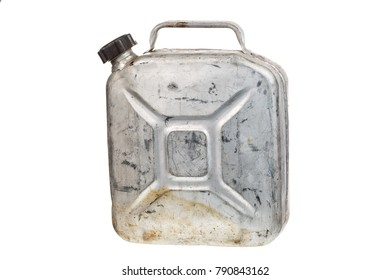 Old metal jerrycan or gasoline canister fuel can isolated on white background