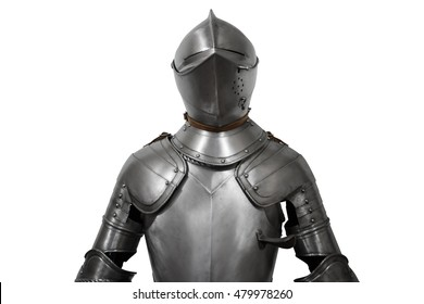 Old metal knight armour isolated on white background