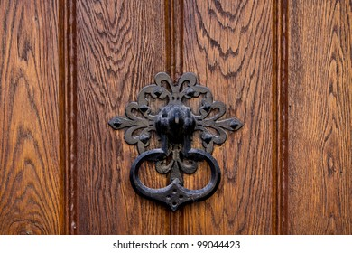 An old metal knocker on a wooden door on a public church in Vienna