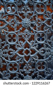 old metal lattice, forged product, architectural element, Italian architecture