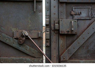 Old metal lock latch and bar