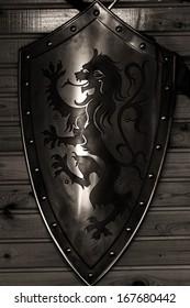 Old metal medieval shield