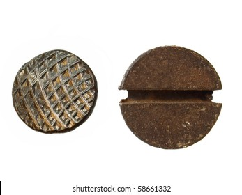 old metal nail and rusty Screw heads  isolated on white background