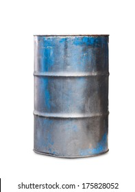 Old metal oil barrel on white background with clipping path