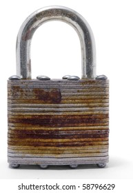 An old metal padlock on a white background