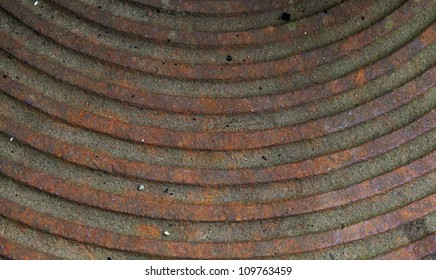 Old metal plate covered with rust.