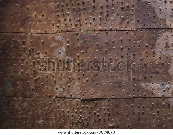 Old metal plate door