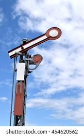 Old metal railway semaphore in Poland.