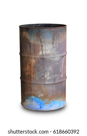 old metal rusty oil barrel isolated on white background. this has clipping path.