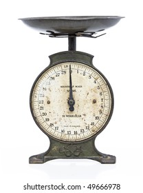 old metal scales on white studio backdrop