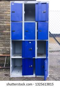 Old metal school lockers in a school yard