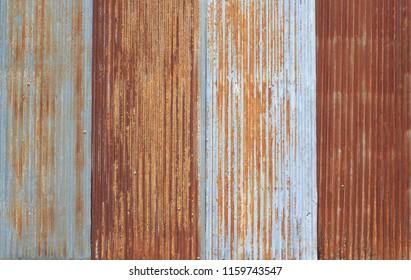 Old metal sheet roof texture. Pattern of old metal sheet.