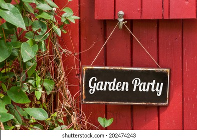 Old metal sign with the inscription Garden Party