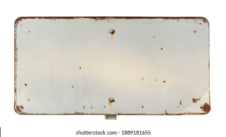 Old metal signs Rust, sun-dried, sifted paint  It's a frame with an empty space inside of your message. isolated on white background with outside path.