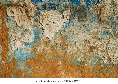 Old metal surface.Metal with blue paint and rust.Texture of old metal.