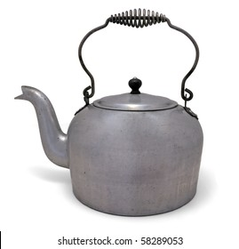 Old Metal Water Pot On a white background