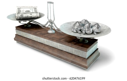 An old metal and wood two pan balance scale comparing a pile of dollar notes and a pile of platinum nuggets on an isolated white background - 3D Render