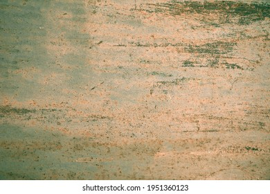 old metallic green with orange surface with weathered rust-eaten paint background