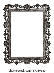 Old metallic picture frame  (No#13), isolated on white background