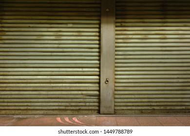 Old metallic roll up door