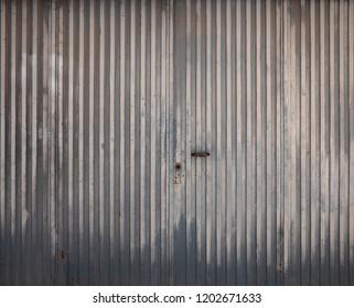old metallic textured garage door