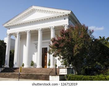 An old Methodist church in Charleston, South Carolina with white columns