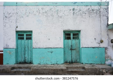 old mexican construction with double front door in a small town at Yucatan Peninsula, Mexico