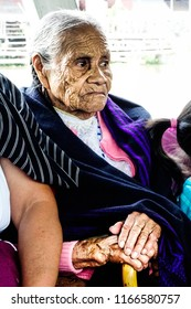 Old Mexican seat woman portrait. Mexico, June 2015.