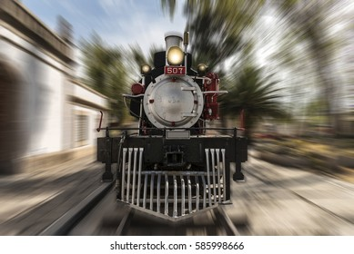 old Mexican train (locomotives) beginning of the twentieth century, the front of the locomotive, speed effect