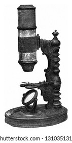 Old microscopes of the Germanic National Museum of Nuremberg, vintage engraved illustration. From the Universe and Humanity, 1910.