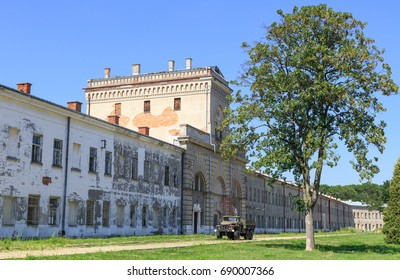 Old military barracks and water tower in Modlin Fortress (Twierdza Modlin), located in  Nowy Dwor Mazowiecki, on Narew river, 50 km north of Warsaw.