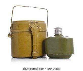 Old military flasks isolated on a white background