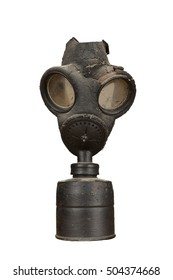 Old military gas mask isolated on white