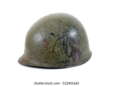Old Military Helmet Isolated on White.Old military plastic fiber isolated