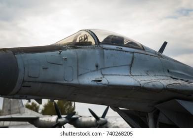 Old military jet plane cockpit close up