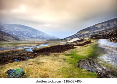 Old Military Road - Scotland, Aberdeenshire near Breamar. Royal Deeside, Cairngorms National Park.