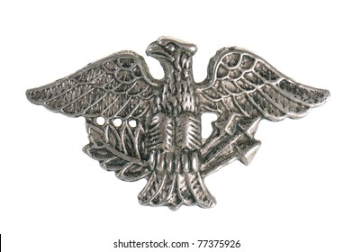 Old military symbol - metal eagle isolated on white background