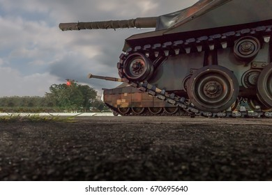 Old Military Tanks. The weapon of the army .