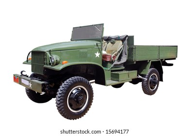 old military truck isolated