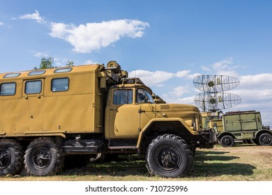 Old Military Trucks Next To Big Military Radar Station At Aviation Museum Plovdiv, Bulgaria 06 September 2017