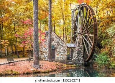 Old Mill at Berry College with autumn foliage in Floyd County, Georgia, USA.