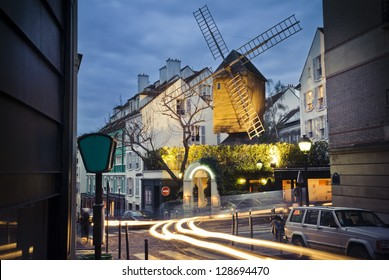 An old mill called Moulin de la Galette in Montmartre, the neighborhood in Paris, France. where famous painters like Picasso or Modigliani used to live.