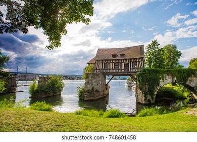 Old mill house on bridge Seine river, Vernon, Normandy, France, Europe